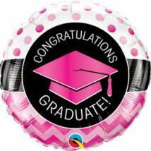 18 inch-es Graduate Pink Chevron Dots Ballagási Fólia Lufi