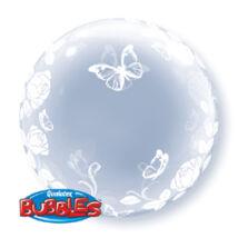 24 inch-es Elegant Roses and Butterflies - Rózsás és Lepkés Deco Bubble Léggömb