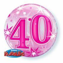 22 inch-es 40-es Pink Starburst Sparkle Születésnapi Bubbles Léggömb