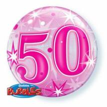 22 inch-es 50 Pink Starburst Sparkle Szülinapi Bubbles Léggömb