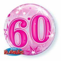 22 inch-es 60-as Pink Starburst Sparkle Születésnapi Bubbles Léggömb