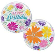 22 inch-es Birthday Flowers & Filigree Szülinapi Bubble Lufi