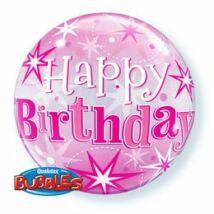 22 inch-es Birthday Pink Starburst Sparkle Szülinapi Bubbles Léggömb