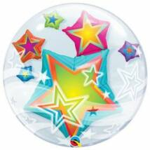 24 inch-es Multicolored Stars Double Bubble Léggömb