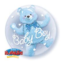 24 inch-es Baby Blue Bear Double Bubble Bébi Léggömb Babaszületésre