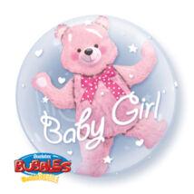 24 inch-es Baby Pink Bear Double Bubble Bébi Léggömb Babaszületésre