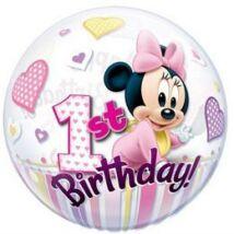 22 inch-es Disney Bubbles Minnie Mouse Első Szülinapi Lufi