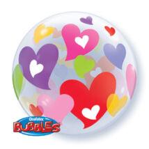 22 inch-es Colorful Hearts Szerelmes Bubble Léggömb
