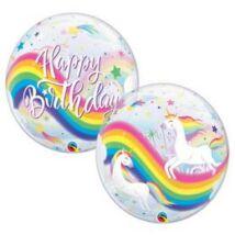 22 inch-es Birthday Rainbow Unicorn - Szívárvány Egyszarvú Szülinapi Bubble Lufi
