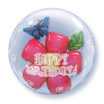 24 inch-es Birthday Flower Születésnapi Double Bubble Léggömb