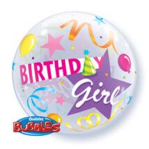 22 inch-es Kislányoknak - Birthday Girl Party Hat Szülinapi Bubble Lufi