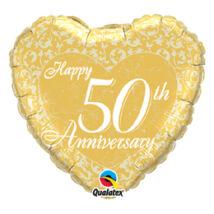 18 inch-es Happy 50th Anniversary Heart 50. Házassági Évfordulóra Fólia Léggömb