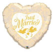 36 inch-es Házasok - Just Married Ivory és Gold Esküvői Fólia Lufi