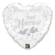 36 inch-es Just Married Pearl White és Silver Esküvői Fólia Lufi