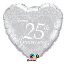 18 inch-es Happy 25th Anniversary Heart 25. Házassági Évfordulóra Szív Fólia Léggömb