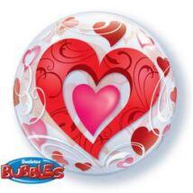 22 inch-es Red Hearts & Filigree Szíves Szerelmes Bubbles Léggömb