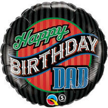 18 inch-es Birthday Dad Stripes Fólia Lufi