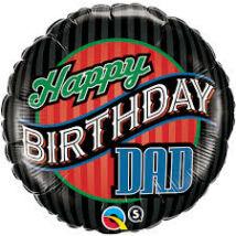 18 inch-es Birthday Dad Stripes Fólia Lufi