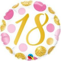 18 inch-es 18-as Pink & Gold Dots Szülinapi Számos Fólia Luf