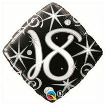 18 inch-es 18. Elegant Sparkles and Swirls Szülinap Születésnapi Számos Fólia Léggömb