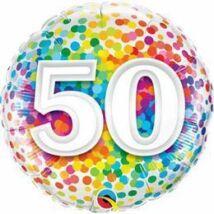 18 inch-es 50 Rainbow Confetti Szülinapi Fólia Lufi