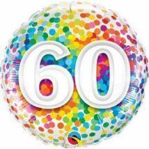 18 inch-es 60 Rainbow Confetti Szülinapi Fólia Lufi