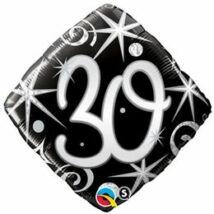 18 inch-es 30. Számos Szülinap Elegant Sparkles and Swirls Születésnapi Fólia Léggömb