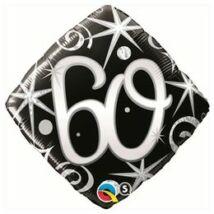 18 inch-es 60. Szülinap Elegant Sparkles and Swirls Születésnapi Számos Fólia Léggömb