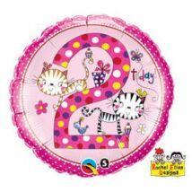 18 inch-es Kiscicák – Age 2 Kittens Polka Dots 2. Születésnapi Számos Fólia Léggömb