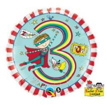 18 inch-es Szuperhős – Age 3 Super Hero Stripes 3. Születésnapi Számos Fólia Léggömb