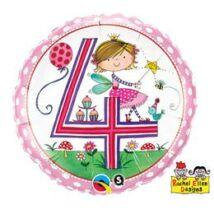 18 inch-es Tündér – Age 4 Fairy Polka Dots 4. Születésnapi Számos Fólia Léggömb