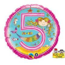 18 inch-es Sellő – Age 5 Mermaid Polka Dots 5. Születésnapi Számos Fólia Léggömb