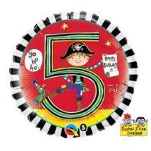 18 inch-es Kalóz – Age 5 Pirate Stripes 5. Születésnapi Számos Fólia Léggömb