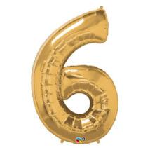 34 inch-es Number 6-os Gold - Arany Számos Fólia Léggömb