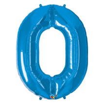 34 inch-es Number 0-ás Sapphire Blue - Zafírkék Számos Fólia Léggömb