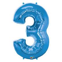 34 inch-es Number 3-as Sapphire Blue - Zafírkék Számos Fólia Léggömb