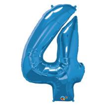 34 inch-es Number 4-es Sapphire Blue - Zafírkék Számos Fólia Léggömb