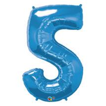 34 inch-es Number 5-ös Sapphire Blue - Zafírkék Számos Fólia Léggömb