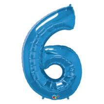 34 inch-es Number 6-os Sapphire Blue - Zafírkék Számos Fólia Léggömb