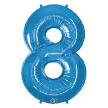 34 inch-es Number 8-as Sapphire Blue - Zafírkék Számos Fólia Léggömb