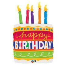 35 inch-es Birthday cake & candles Szülinapi super shape fólia lufi