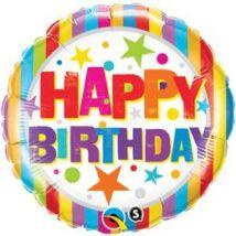 18 inch-es Happy Birthday Csíkos és Csillagos Születésnapi Fólia Léggömb