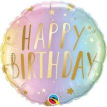 18 inch-es Happy Birthday Pastel Ombre & Stars - Árnyék & Csillagok Szülinapi Születésnapi Fólia Lufi