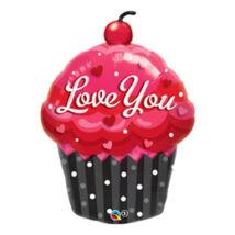 35 inch-es Szívecskés Muffin - Love You Cupcake Super Shape Fólia Lufi