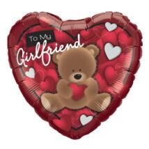18 inch-es Maci Szívvel - To My Boyfriend Bear Szerelmes Szív Fólia Léggömb