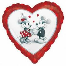 18 inch-es Mickey & Minnie szerelmes holografikus fólia lufi