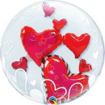 24 inch-es Lovely Floating Hearts Szerelmes Double Bubble Léggömb
