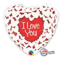 18 inch-es Szíven Szív - I Love You Red and White Szerelmes Holografikus Fólia Léggöm
