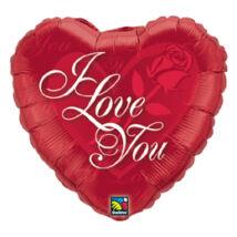18 inch-es Rózsás Szív - I Love You Red Rose Szerelmes Fólia Léggömb