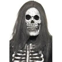 Szürke koponya maszk hajjal